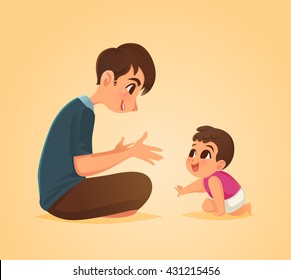 Father and baby son, Vector illustration.