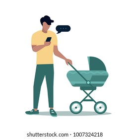 father and baby in a stroller walk, cartoon style,  paternity, young father with babies, mobile, happy dad