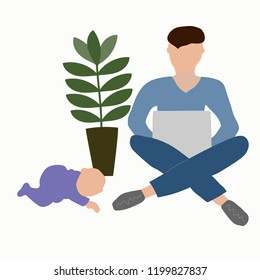 Father with a baby while working on a laptop. Paternity leave