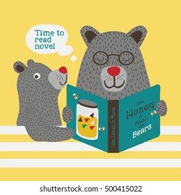 Father Bear and his son reading a book. Artwork design with lettering and character.