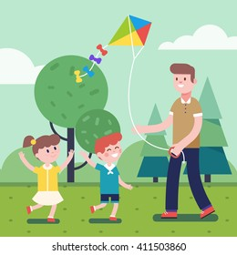 Father of brother playing with kids. Flying kite outdoors together with son and daughter. Smiling characters. Modern flat vector illustration clipart.