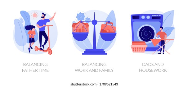 Father career and family balance metaphors. Parenting, multitasking, paternity leave. Single dad plating spending time with child and working abstract concept vector illustration set.