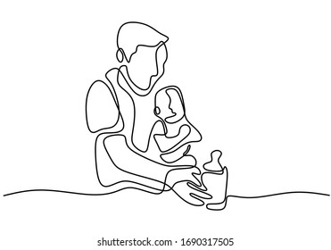 Father caring his baby. Giving a baby milk when his baby is crying. Hug his baby. Continuous one line. Vector illustration