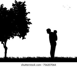 Father carrying a child piggyback in the park, one in the series of similar images silhouette