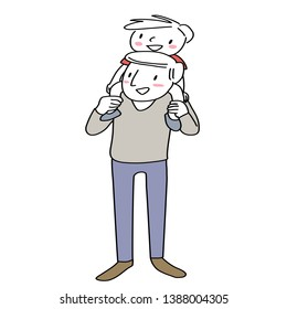Father carrying his little son on his shoulders. Happy man carrying little boy on his shoulder. Cheerful dad carrying cute little son over shoulder. Hand-drawn vector.