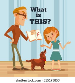 Father character scolds daughter character for bad grade. Bad student. Vector flat cartoon illustration