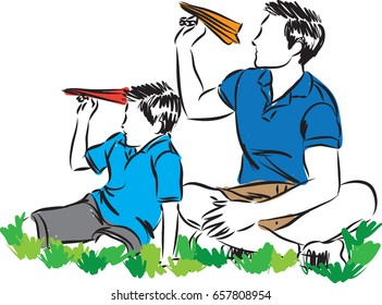 father and child playing with paper planes vector illustration