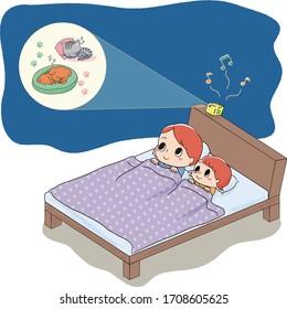 寝る前にベッドに横になってホームシアターを見る父子