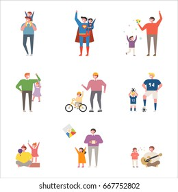 father and children character vector illustration flat design