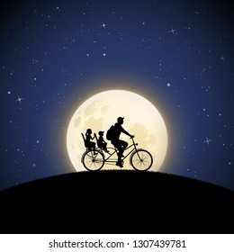 Father with children on bicycle on moonlit night. Vector illustration with silhouette of family riding bike on hill in park. Full moon in starry sky