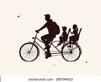 Father with children on bicycle. People on bike abstract silhouette