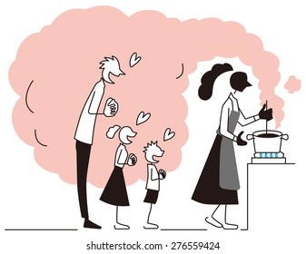 Father and children wait for food