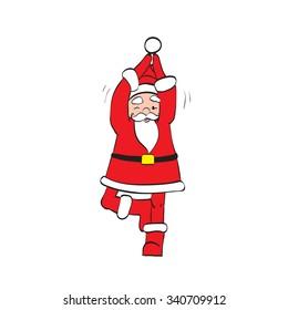 Father Christmas Santa Claus doing yoga, Zen vector