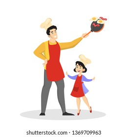 Father and daughter in apron cooking dinner or lunch at home. Homemade dish. Family activity. Isolated vector illustration in cartoon style