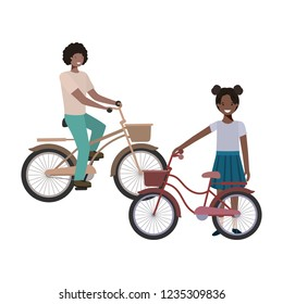 father and daughter with bycicle avatar character