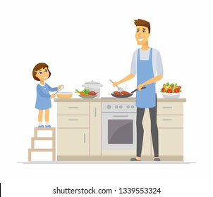 Father and daughter cooking - cartoon people characters illustration on white background. Young parent frying cutlets and kid with a whisk, making dinner together in the kitchen. Happy family concept