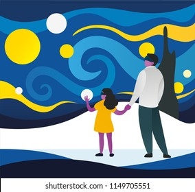 Father and daughter having a good time in an art museum wearing virtual reality glasses. Character enjoying of VR device. Vector illustration of virtual reality glasses in use