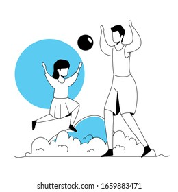 father with daughter playing in park landscape vector illustration design
