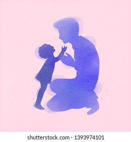 Father with daughter silhouette plus abstract watercolor painted. Happy father's day. Digital art painting. Vector illustration