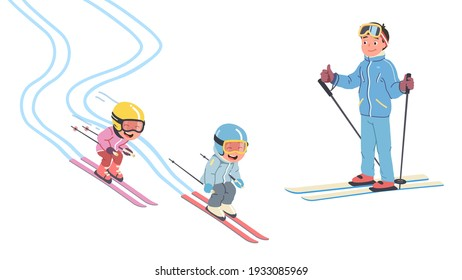 Father, daughter, son kids skiing together on snowy slopes. Happy children skiers cartoon characters sliding downhill in ski resort. Family enjoying winter holiday sport. Flat vector illustration