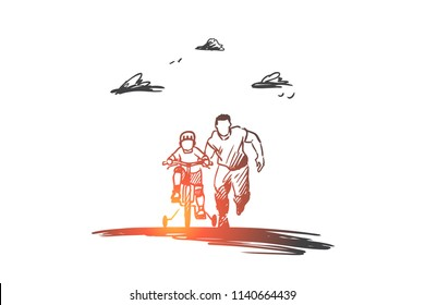 Father, day, family, child, happy concept. Hand drawn dad with son ride bicycles concept sketch. Isolated vector illustration.