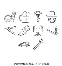 father day icon set outline