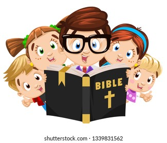 Father, elder brother or tutor, mentor reading holy book, bible to boys and girls. Religious, faithful family. Spirituality and religion education, christian camp. Cartoon characters isolated on white