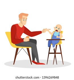 Father feed his baby son sitting on the chair. Dad and child. Infant nutrition. Man with a spoon. Isolated vector illustration in cartoon style