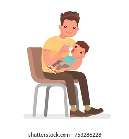 Father feeds the baby with milk from the bottle. Vector illustration in a plane style