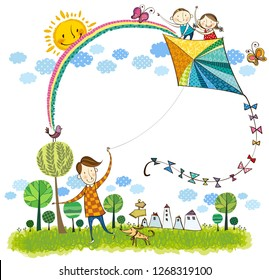 Father flying kite