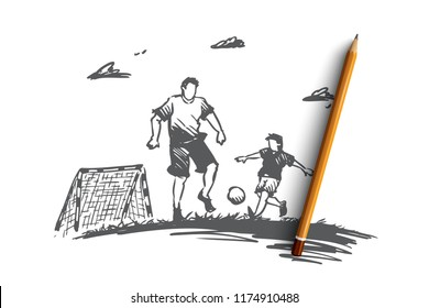 Father, football, son, play, parent concept. Hand drawn dad playing football with son concept sketch. Isolated vector illustration.