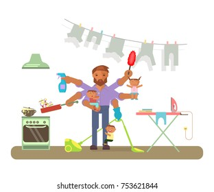 Father in funny cartoon style for infographic. Homemaker is cleaning, ironing, cooking, wash and child rearing. Fatherhood raising children. Vector illustration.