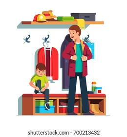 Father getting dressed putting on jacket or coat, son sitting tying sneaker shoes laces. Dad & kid dressing clothes in hall together. Home hallway interior. Flat vector isolated illustration.