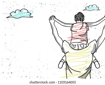 Father giving son ride on back . Portrait of happy fathers day.