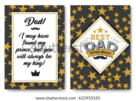 Father Happy Birthday Card Set Best Dad In The World For Greeting Or Festive Poster Banner Dear Pap With Gold Stars Background Vector Template