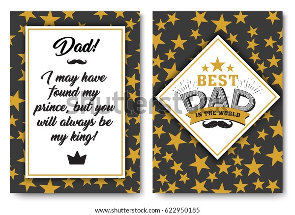 Father Happy Birthday Card Set Best Stock Vector (Royalty ...