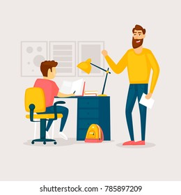 Father helps with homework. Flat design vector illustration.