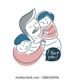Father and his kids. Vector illustration for t-shirt design, card, banner, blog, poster, logo.