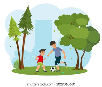 father with his little son playing football. Concept of friendly family. Vector illustration