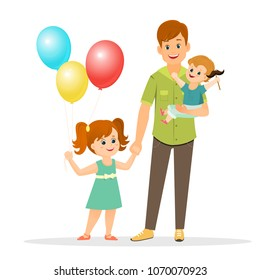 Father with his son and daughter. Father s day.Vector illustration