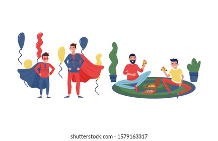 Father and His Teenage Son Spending Good Time Together Set, Father and Son Having Picnic and Taking Part at Masquerade Party Vector Illustration