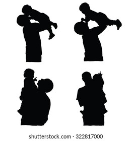 father holding baby silhouette vector on white