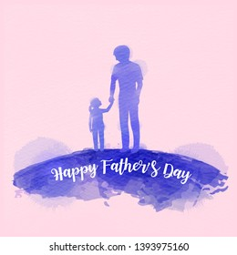 Father holding daughter silhouette plus abstract watercolor painted. Happy father's day. Digital art painting. Vector illustration
