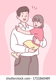 father holding daughter with a smile, happy spending time together, father's day concept, hand-drawn style vector illustration.