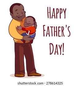 A father holding son in his arms. Element cards for Father's Day. Vector illustration on a white background.