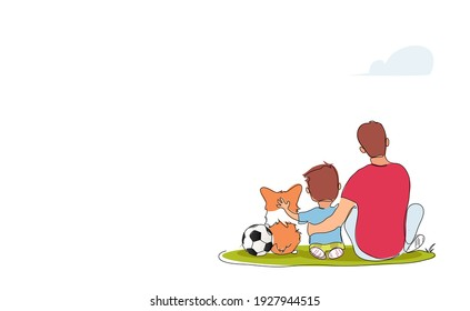 Father hugging his son sitting on the lawn. Back view. Best dad ever vector illustration.