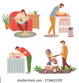 Father and kid walking outdoors vector, daddy feeding newborn kid with bottle, parent changing diapers on special table, perambulator stroller care
