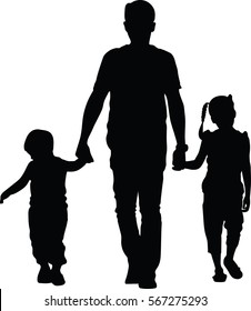Father with kids vector silhouette illustration isolated on white background. Dad and two child walking the street and holding hands. Fathers day.