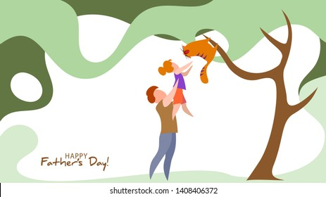 Father lifting up his daughter to save cat from tree. Happy father's day card. Flat style. Vector illustration
