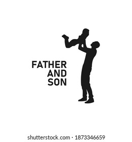 Father lifting son black silhouette. Dad and son icon sign or symbol. Fatherhood logo. Parenthood life. Happiness and joy. Happy family. Childhood moment. Man holding toddler vector illustration.